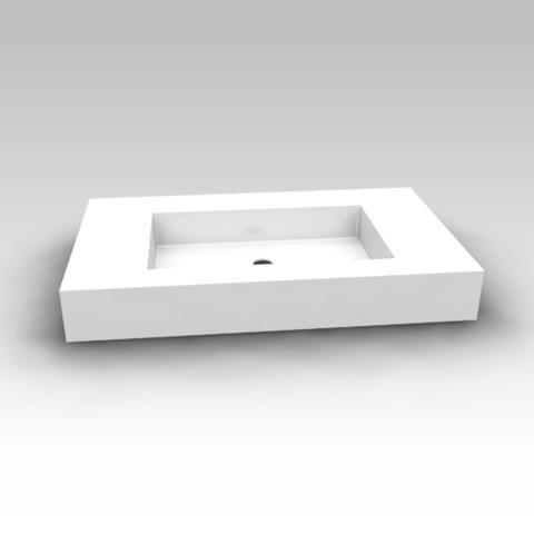 Artiqua 112 Mineralmarmor-Waschtisch B: 85 T: 50 cm ohne Hahnloch, ohne Überlauf 112-MMWTA50-850-0