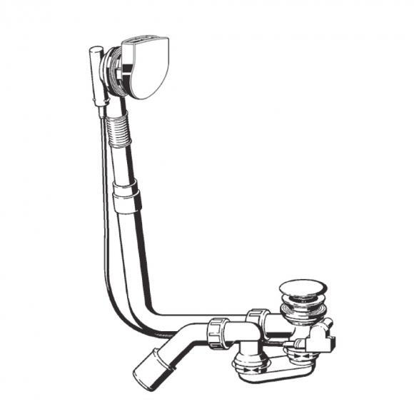 Bette Ablaufgarnitur Plus 5, standard 50 mm höherer Wasserstand, chrom B617-901