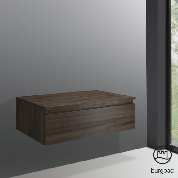 Burgbad Cube Sideboard B: 80 H: 25,5 T: 52,5 cm, 1 Auszug Front marone trüffel dekor / Korpus marone trüffel dekor USIF080F3788