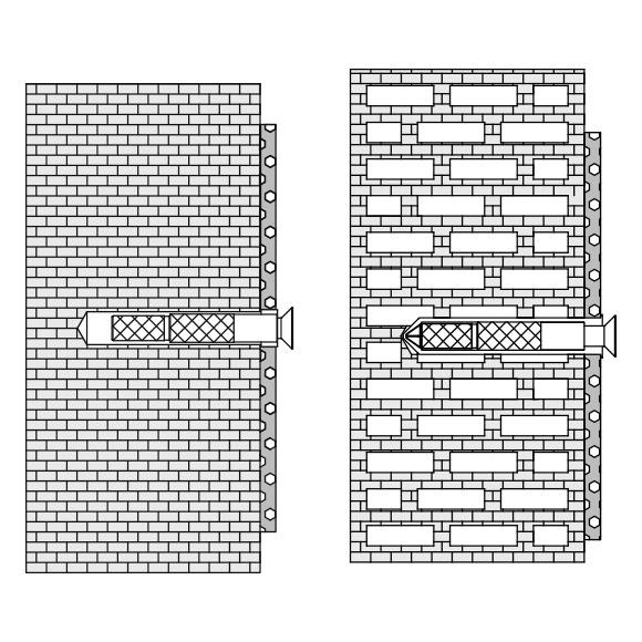 Hewi Befestigungsmaterial für Hohlblocksteine, Hochlochziegeln, Vollziegeln BM18.2
