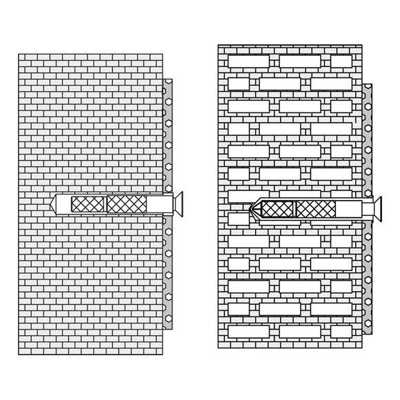 Hewi Befestigungsmaterial für Hohlblocksteine, Hochlochziegeln, Vollziegeln BM18.3