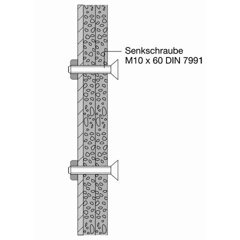 Hewi Befestigungsmaterial für Klappsitz 801.51.200 in Leichtbauwand mit Stahlplatten BM23.4