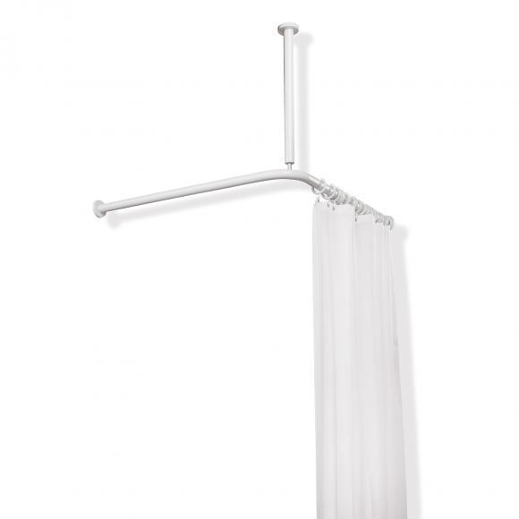 Hewi Serie 801 Vorhangstange mit Deckenabhängung und Duschvorhang B: 1200 L: 1200 mm reinweiß 801.34.1162 99