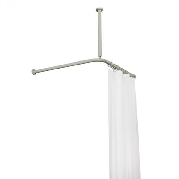 Hewi Serie 801 Vorhangstange mit Deckenabhängung und Duschvorhang B: 900 L: 900 mm felsgrau 801.34.1462 95