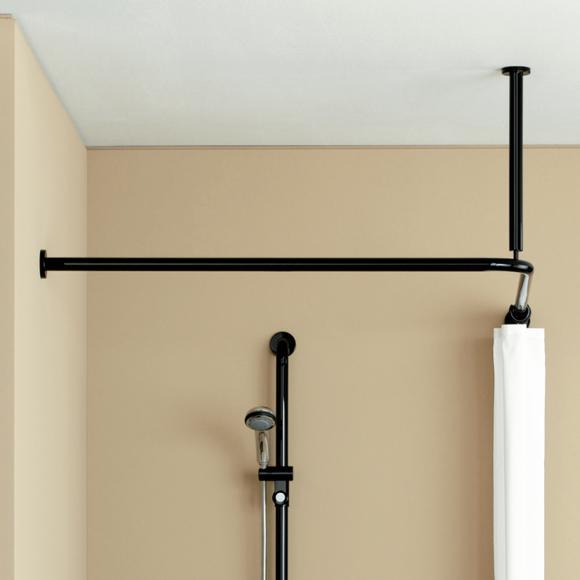 Hewi Serie 801 Vorhangstange mit Deckenabhängung und Duschvorhang B: 900 L: 900 mm tiefschwarz 801.34.1462 90