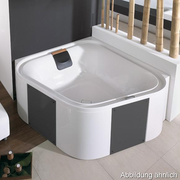 Hoesch ERGO Eck-Badewanne, mit Verkleidung L: 164 B: 164 H: 48 cm, Glas: schwarz weiß, Verkleidung: Acryl weiß/Glas schwarz 6443.010305552