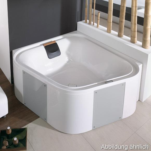 Hoesch ERGO Eck-Badewanne, mit Verkleidung L: 164 B: 164 H: 48 cm, Glas: silber weiß, Verkleidung: Acryl weiß/Glas silber 6443.010305551