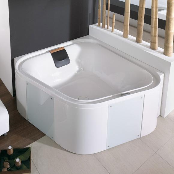 Hoesch ERGO Eck-Badewanne, mit Verkleidung L: 164 B: 164 H: 48 cm, Glas: weiß weiß, Verkleidung: Acryl weiß/Glas weiß 6443.010305550