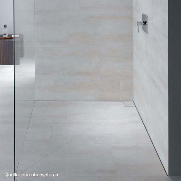 poresta systems Slot Duschelement L: 120 B: 120 H: 6,5 cm Ablauf waagerecht, mit Fliesenprofil 1,2 cm 20000250