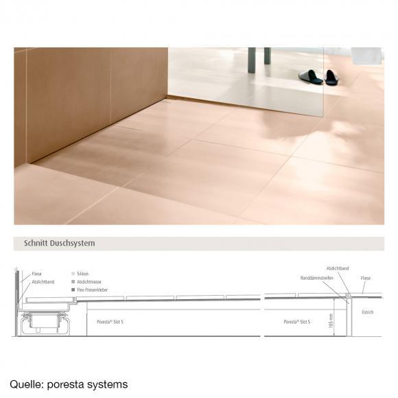 poresta systems Slot S Duschelement L: 120 B: 120 H: 6 cm für Ablauf senkrecht, links mit Fliesenprofil 1,2 cm 20001402