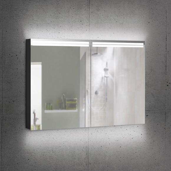 Schneider ARANGALINE Spiegelschrank B: 100 H: 70 T: 12 cm, 2 Türen schwarz matt 160.500.02.41, EEK: A++
