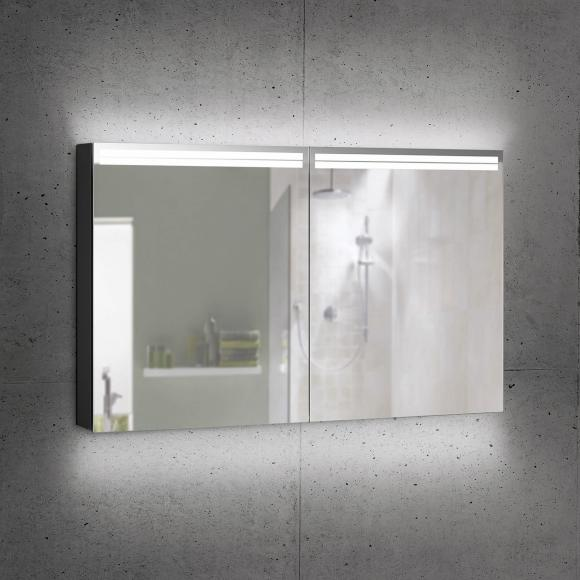 Schneider ARANGALINE Spiegelschrank B: 130 H: 70 T: 12 cm, 2 Türen schwarz matt 160.530.02.41, EEK: A++