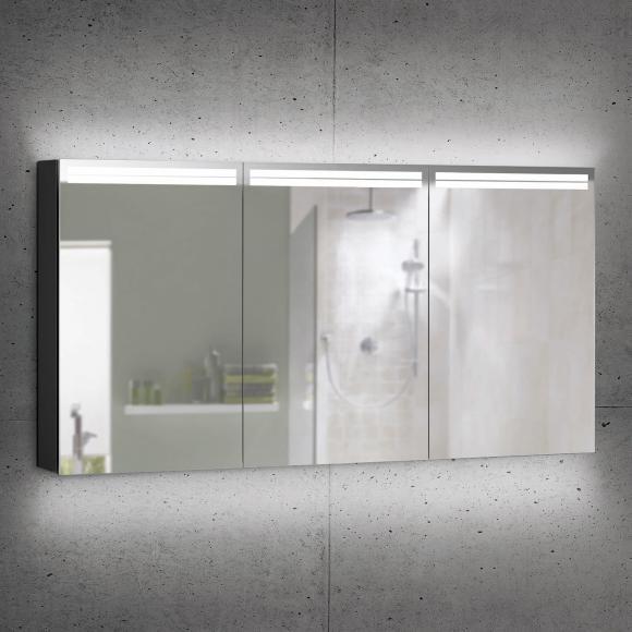 Schneider ARANGALINE Spiegelschrank B: 150 H: 70 T: 12 cm, 3 Türen schwarz matt 160.551.02.41, EEK: A++