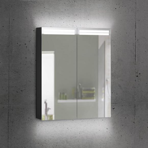 Schneider ARANGALINE Spiegelschrank B: 60 H: 70 T: 12 cm, 2 Türen schwarz matt 160.460.02.41, EEK: A++