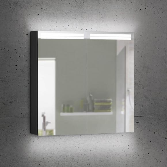 Schneider ARANGALINE Spiegelschrank B: 80 H: 70 T: 12 cm, 2 Türen schwarz matt 160.480.02.41, EEK: A++