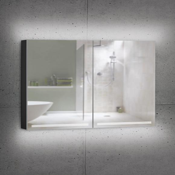 Schneider GRACELINE Spiegelschrank B: 130 H: 70 T: 12 cm, 2 Türen schwarz matt 116.530.02.41, EEK: A++