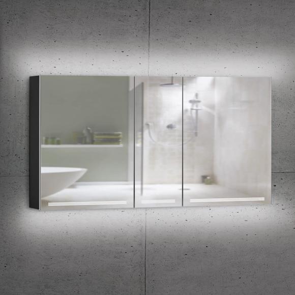 Schneider GRACELINE Spiegelschrank B: 150 H: 70 T: 12 cm, 3 Türen schwarz matt 116.550.02.41, EEK: A++