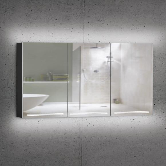 Schneider GRACELINE Spiegelschrank B: 150 H: 70 T: 12 cm, 3 Türen schwarz matt 116.551.02.41, EEK: A++