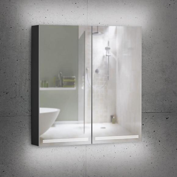 Schneider GRACELINE Spiegelschrank B: 70 H: 70 T: 12 cm, 2 Türen schwarz matt 116.470.02.41, EEK: A++