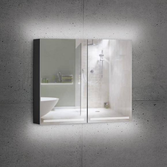 Schneider GRACELINE Spiegelschrank B: 80 H: 70 T: 12 cm, 2 Türen schwarz matt 116.480.02.41, EEK: A++