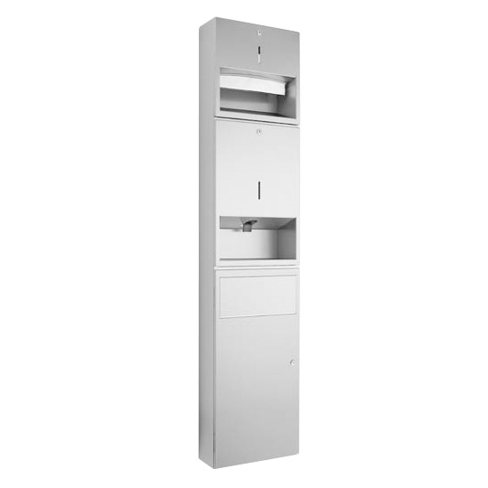 Wagner-Ewar A-Linie Kombination Papiertuch-/Seifenspender/Abfall B: 298 H: 1348 T: 120 mm edelstahl poliert 732970